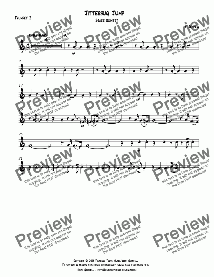 page one of the Trumpet 2 part from Jitterbug Jump: Brass Quintet