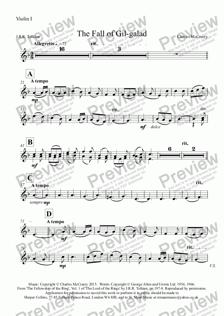 page one of the Violin I part from The Fall of Gil-galad