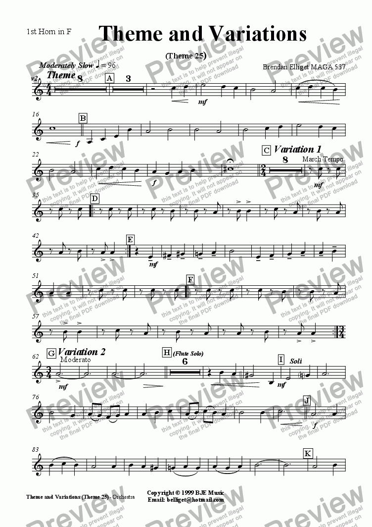 page one of the 1st F Horn part from Theme and Variations (Theme 25) - Orchestra