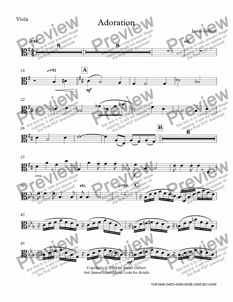 page one of the Viola part from Adoration