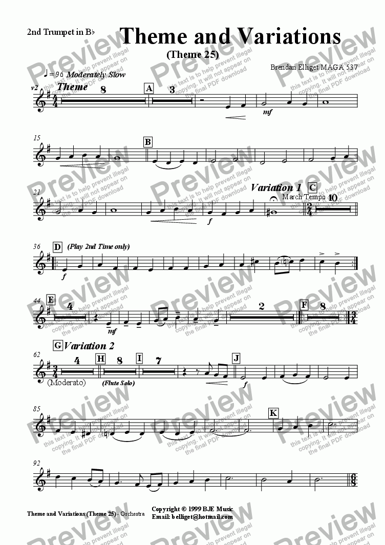 page one of the 2nd Trumpet part from Theme and Variations (Theme 25) - Orchestra