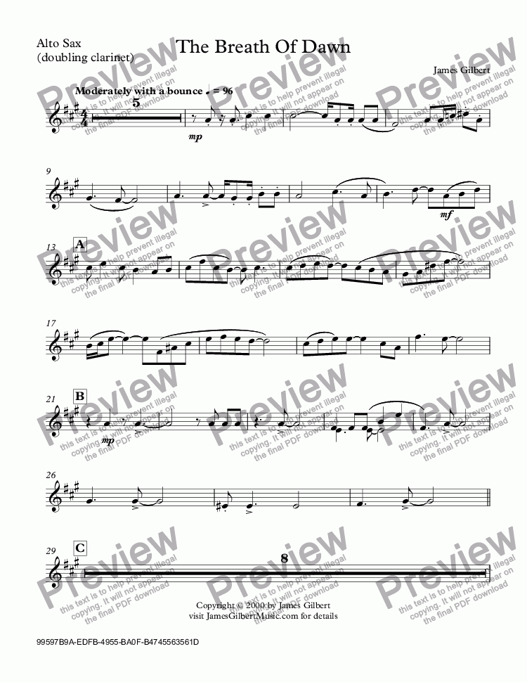 page one of the Alto Sax, (doubling clarinet) part from The Breath Of Dawn