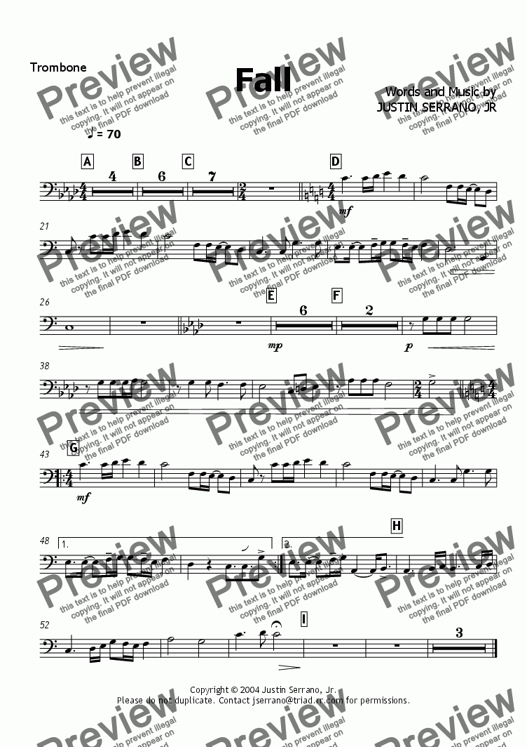 page one of the Trombone part from Fall