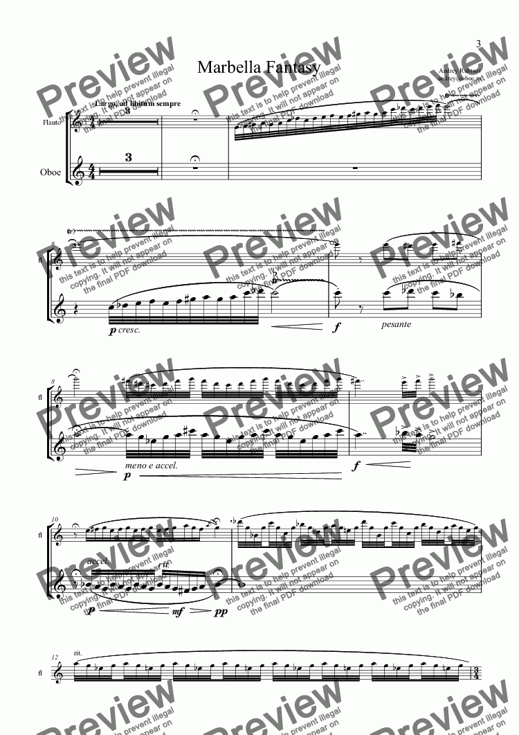 "page one of the Oboe part from ""Marbella Fantasy"" for flute, oboe & piano"