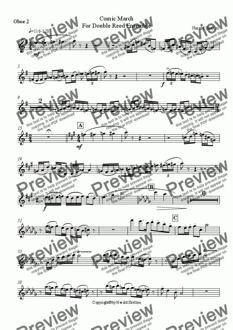 page one of the Oboe 2 part from Comic March