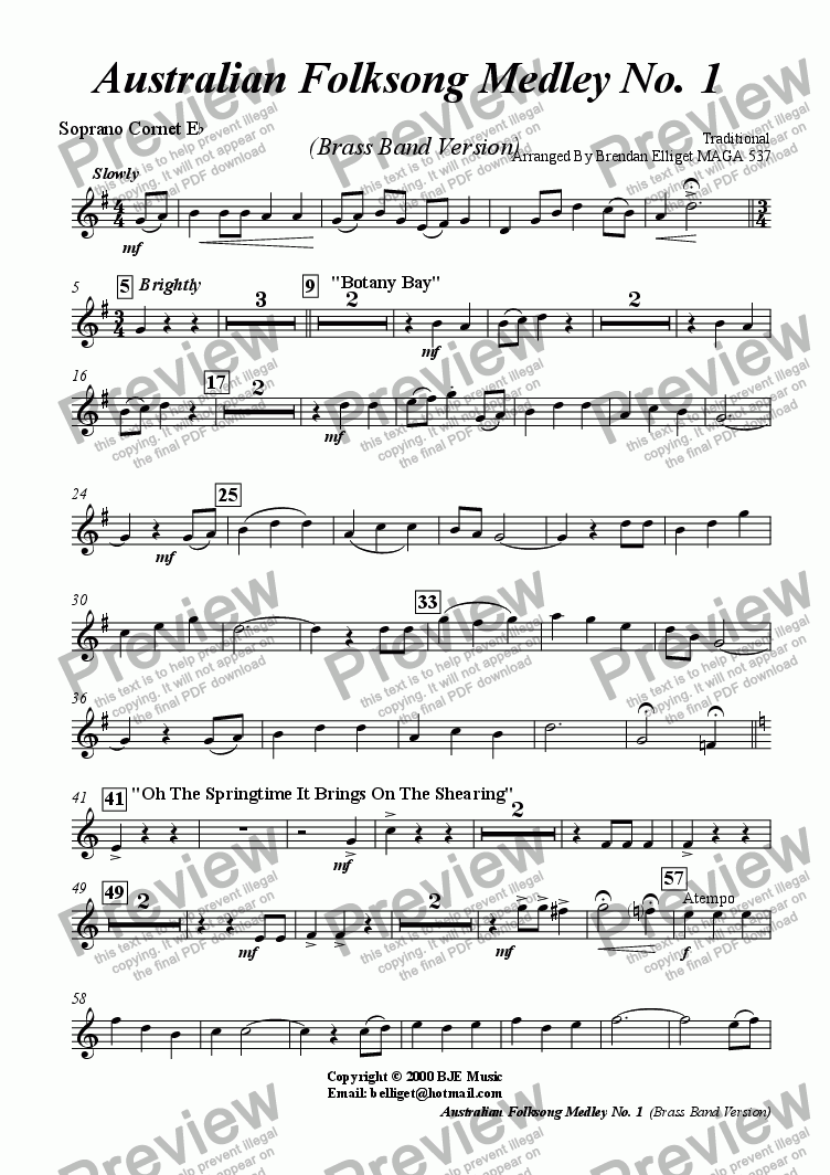 page one of the Eb Soprano Cornet part from Australian Folksong Medley No. 1 -  Brass Band Version