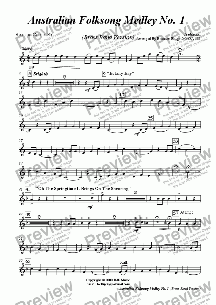 page one of the Repiano Cornet part from Australian Folksong Medley No. 1 -  Brass Band Version