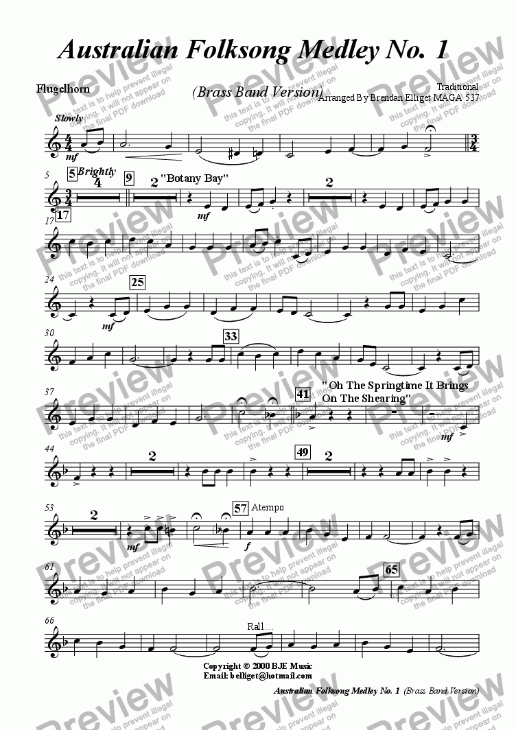 page one of the Flugelhorn part from Australian Folksong Medley No. 1 -  Brass Band Version