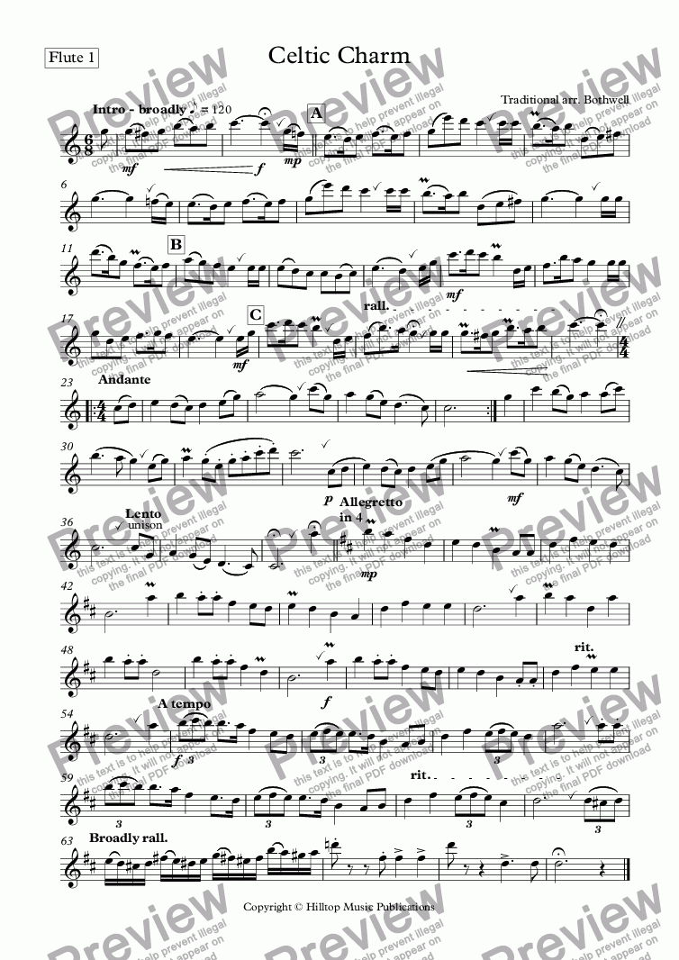 page one of the Flute 1 part from Celtic Charm for four flutes