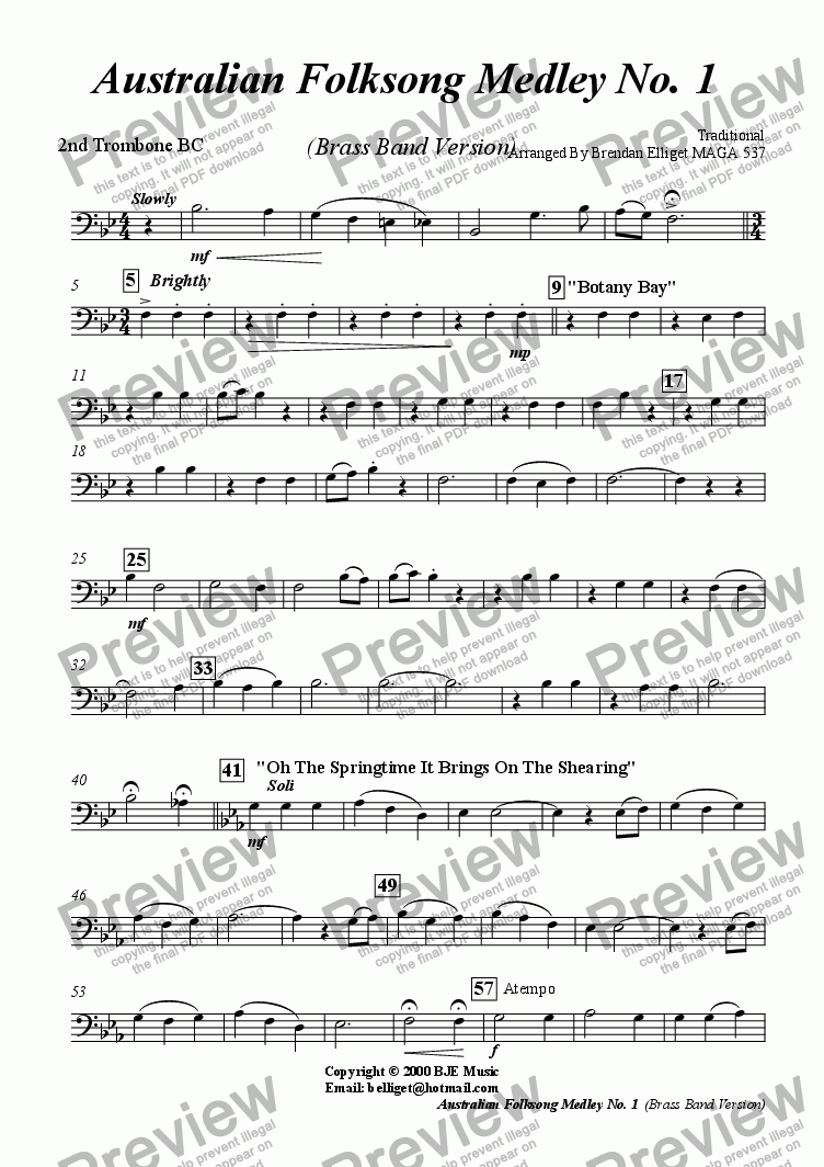 page one of the 2nd Trombone BC part from Australian Folksong Medley No. 1 -  Brass Band Version