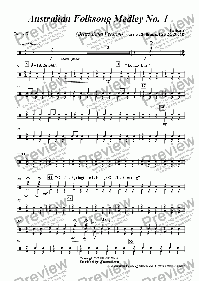 page one of the Drums Set part from Australian Folksong Medley No. 1 -  Brass Band Version