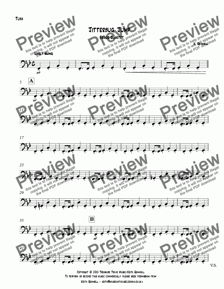 page one of the Tuba part from Jitterbug Jump: Brass Quartet
