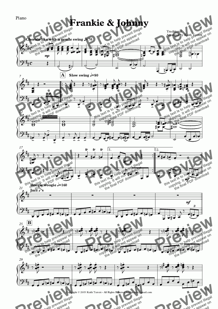 page one of the Piano part from Frankie & Johnny for Harmonica & Piano