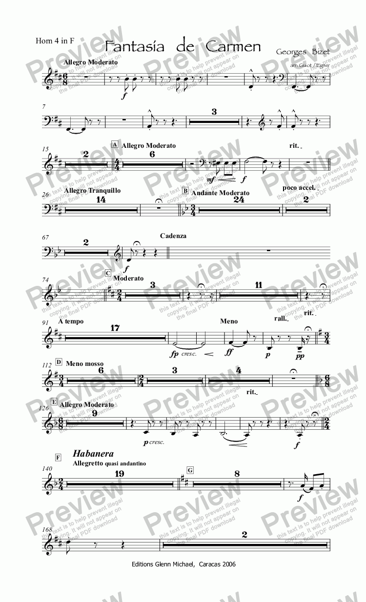 page one of the Horn 4 in F part from Bizet Carmen Fantasy for flute