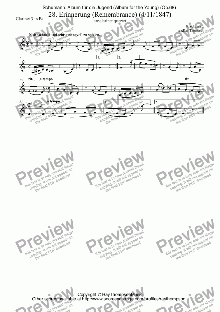 page one of the Clarinet 3 in B^b part from Schumann: Album für die Jugend (Album for the Young) (Op.68)  28. Erinnerung (Remembrance) (For the death of Mendelssohn:4th Nov.1847) arr. clarinet quartet