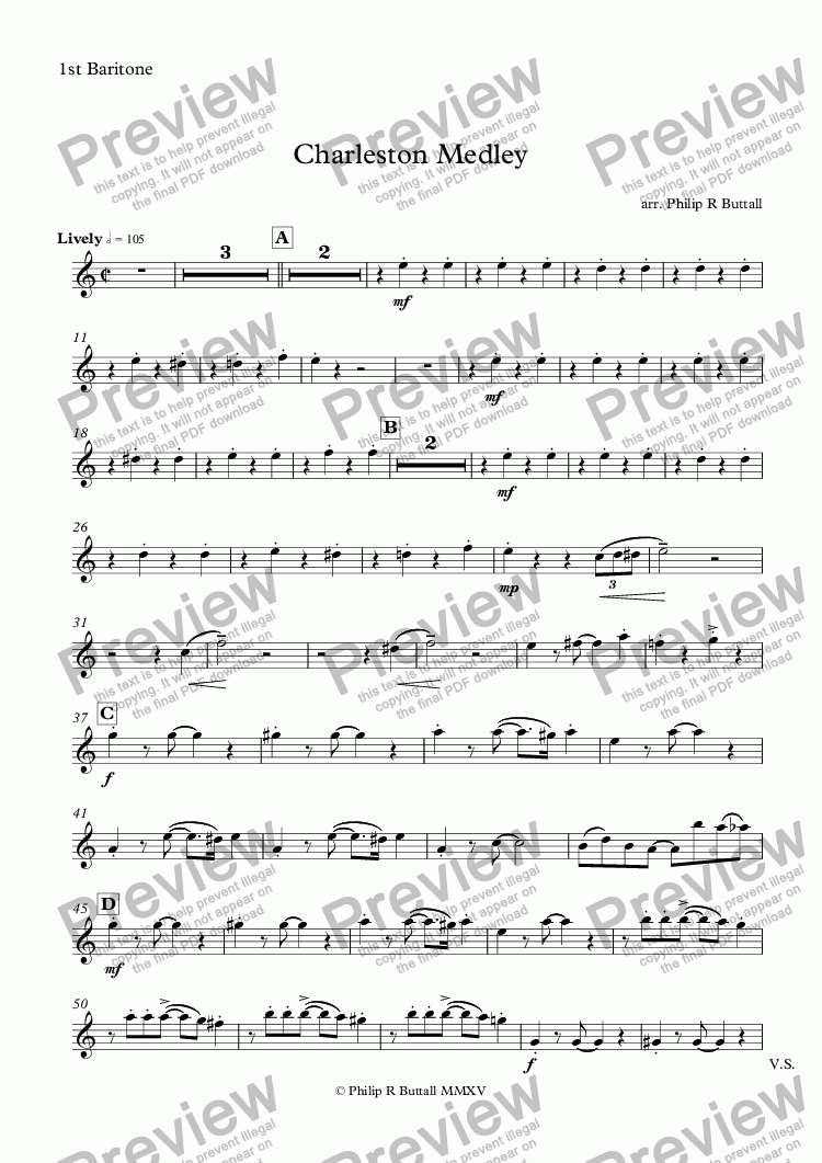 page one of the 1st Baritone part from Charleston Medley (Brass Band)