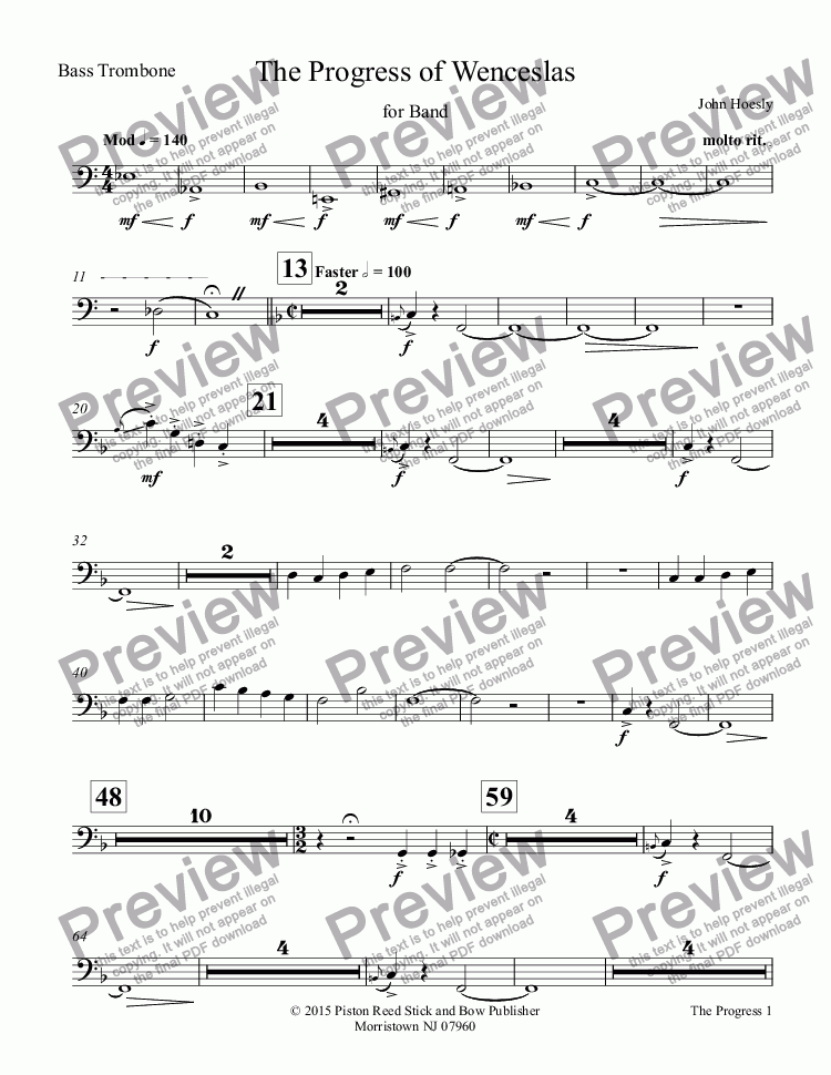 page one of the Bass Trombone part from Progress of Wenceslas, The- for concert band