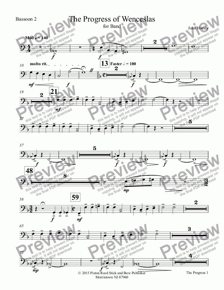 page one of the Bassoon 2 part from Progress of Wenceslas, The- for concert band