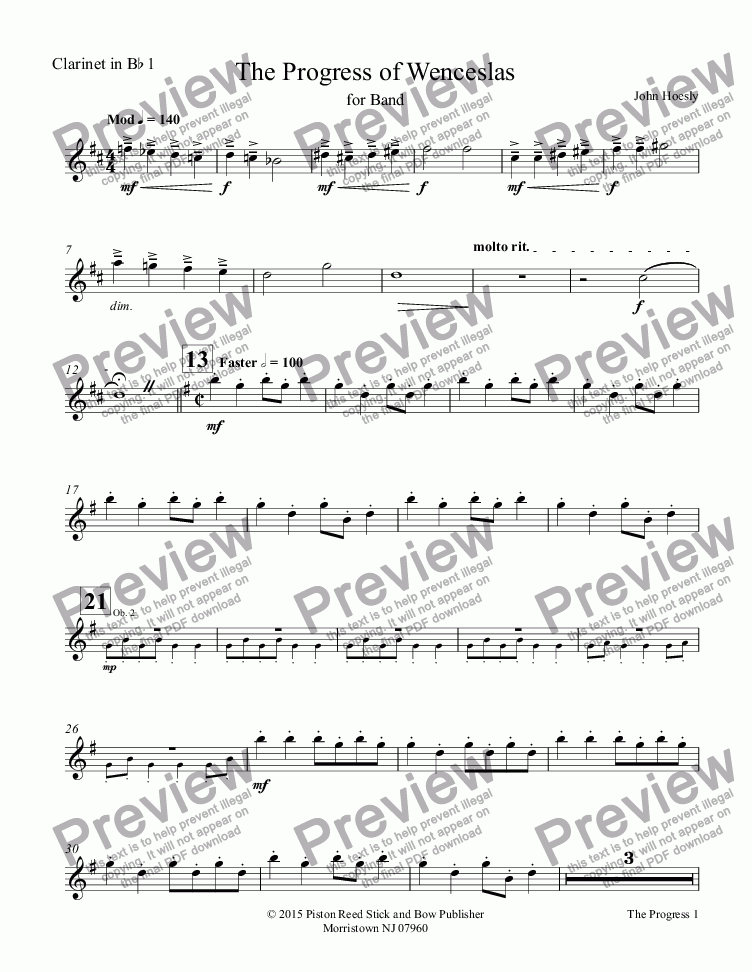 page one of the Clarinet in Bb 1 part from Progress of Wenceslas, The- for concert band