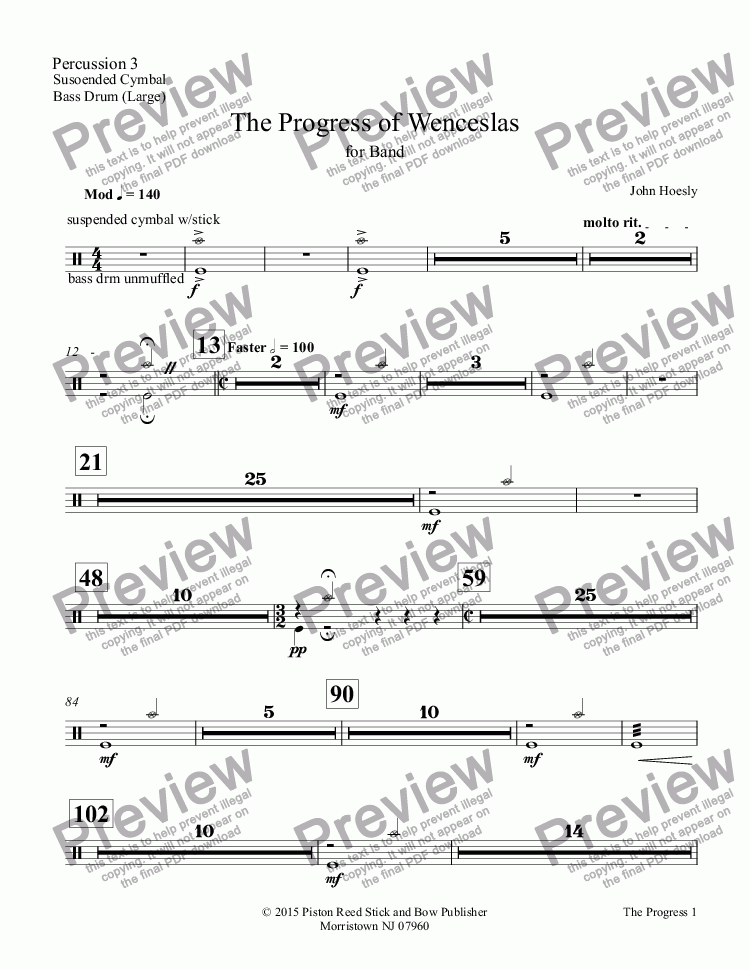 page one of the Percussion 3 part from Progress of Wenceslas, The- for concert band