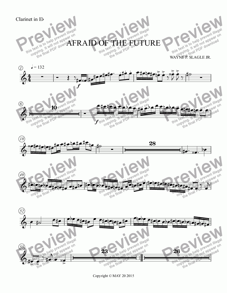 page one of the Clarinet in E^b part from AFRAID OF THE FUTURE