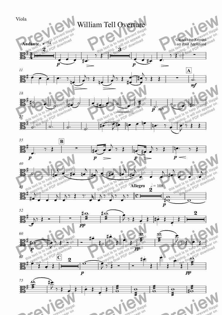 page one of the Viola part from William Tell Overture