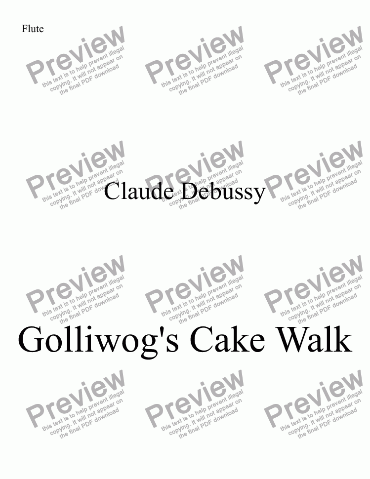 page one of the Flute part from Golliwog's Cake Walk