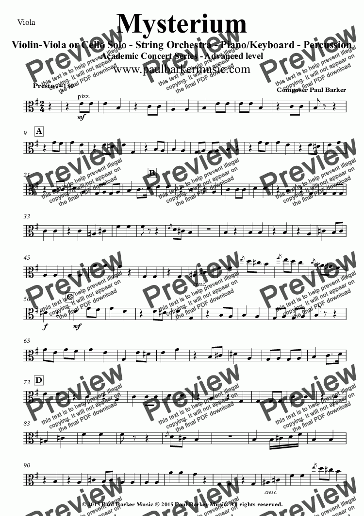 page one of the Viola part from Mysterium (String Orchestra and Soloist)