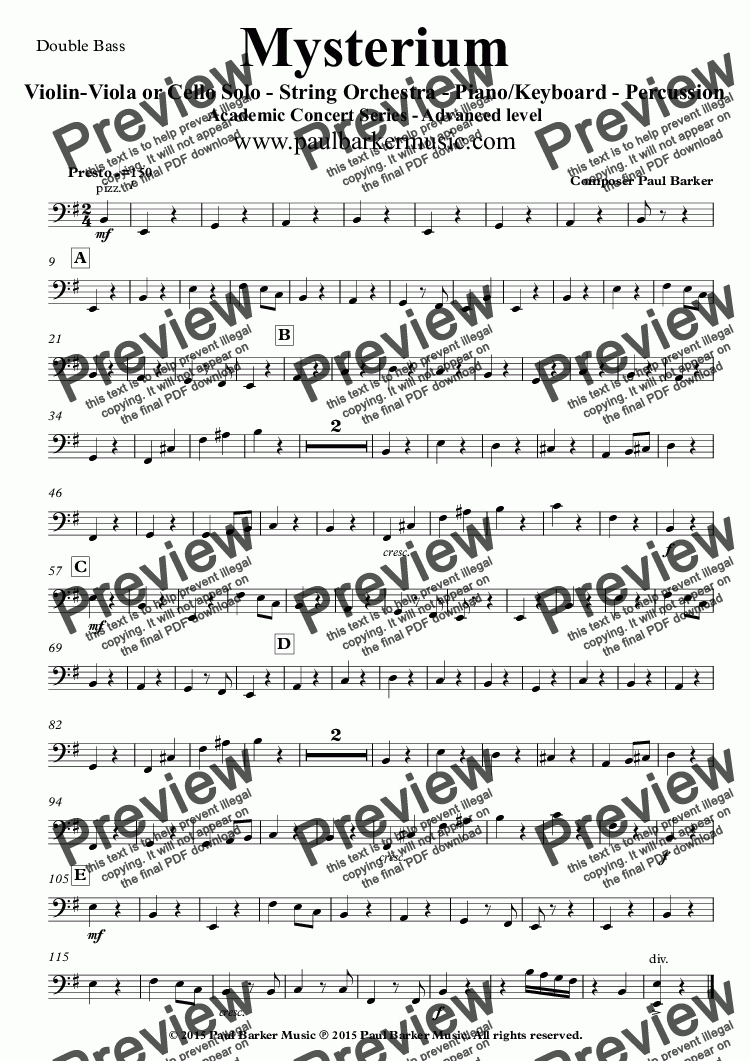 page one of the Double Bass part from Mysterium (String Orchestra and Soloist)
