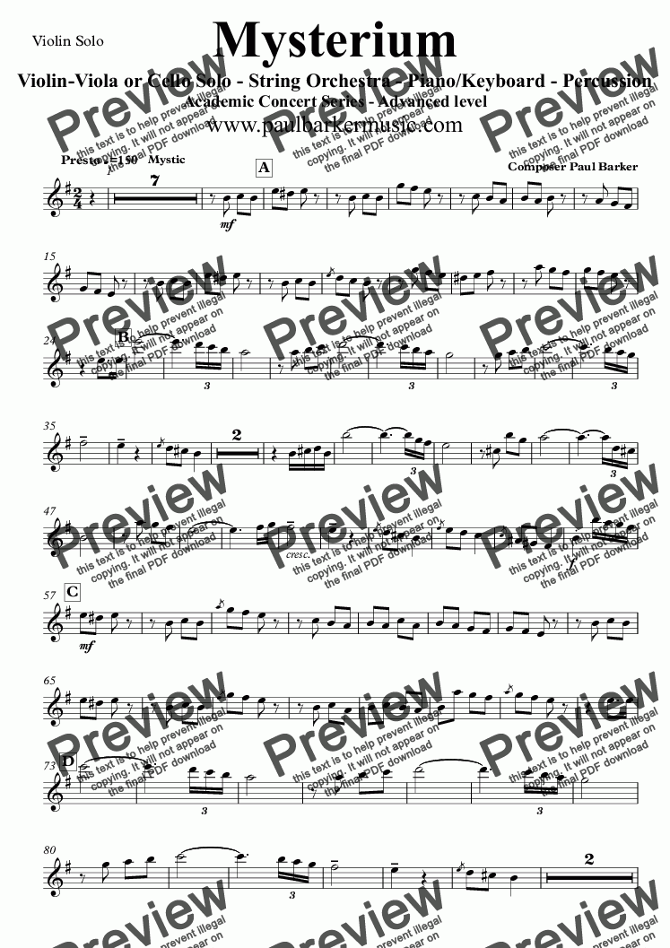 page one of the Violin Solo part from Mysterium (String Orchestra and Soloist)