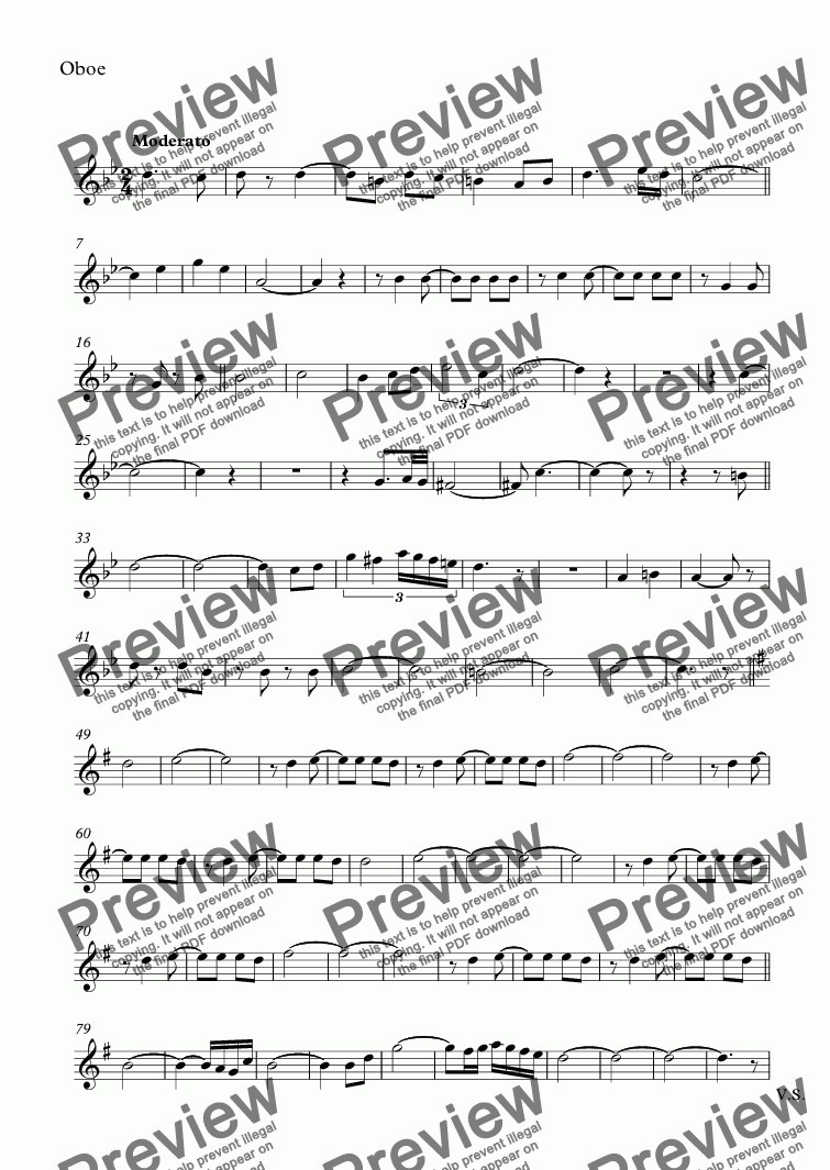 page one of the Oboe part from ISLAS CANARIAS