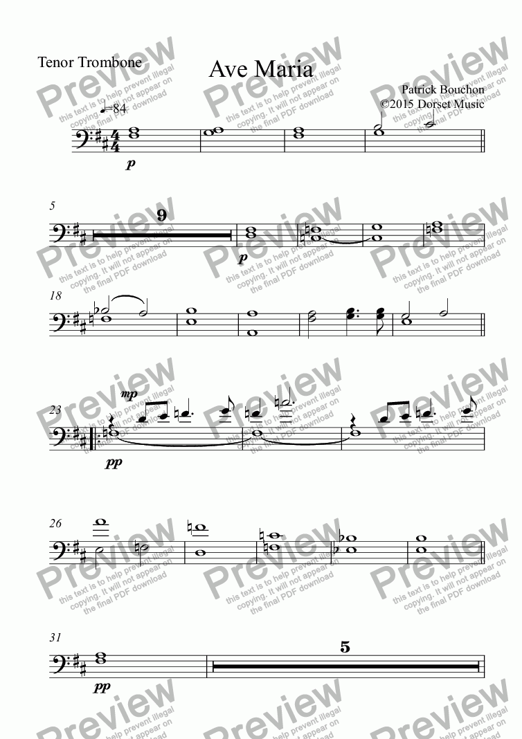 page one of the Tenor Trombone part from Ave Maria (Bouchon) for voice and Orchestra