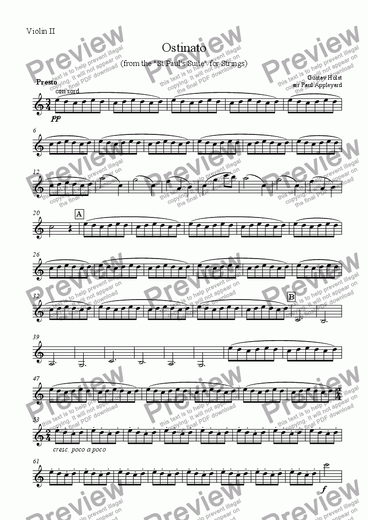 page one of the Violin II part from Ostinato (from the St Paul's Suite)
