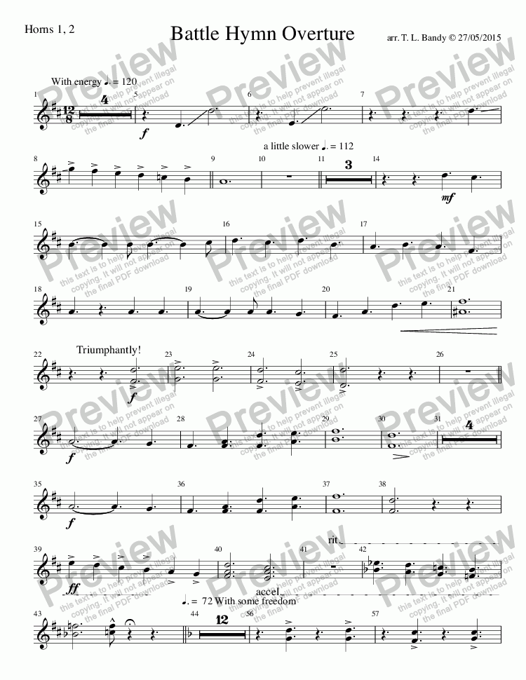page one of the Horns 1, 2 part from Battle Hymn Overture