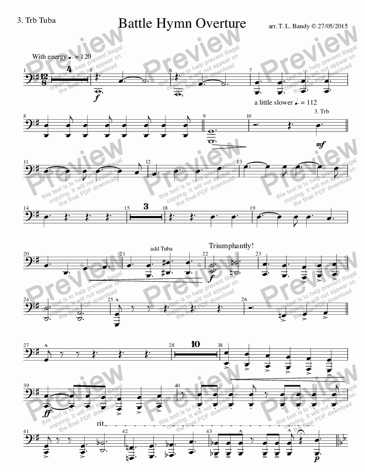 page one of the 3. Trb Tuba part from Battle Hymn Overture