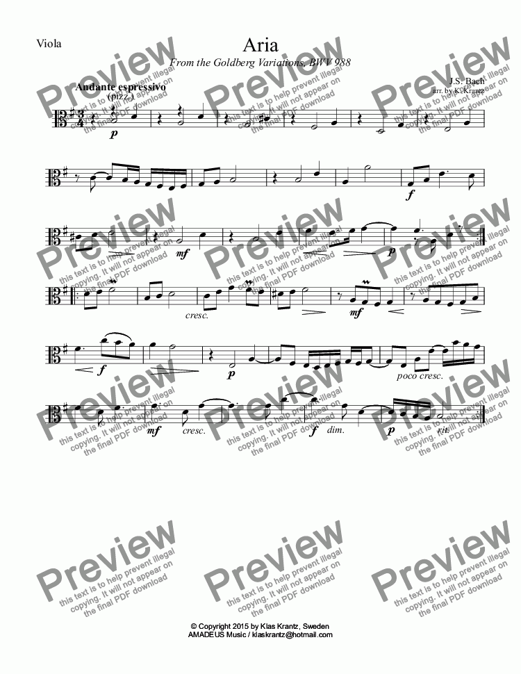 page one of the Viola part from Goldberg variations BWV 988 - Aria for string trio