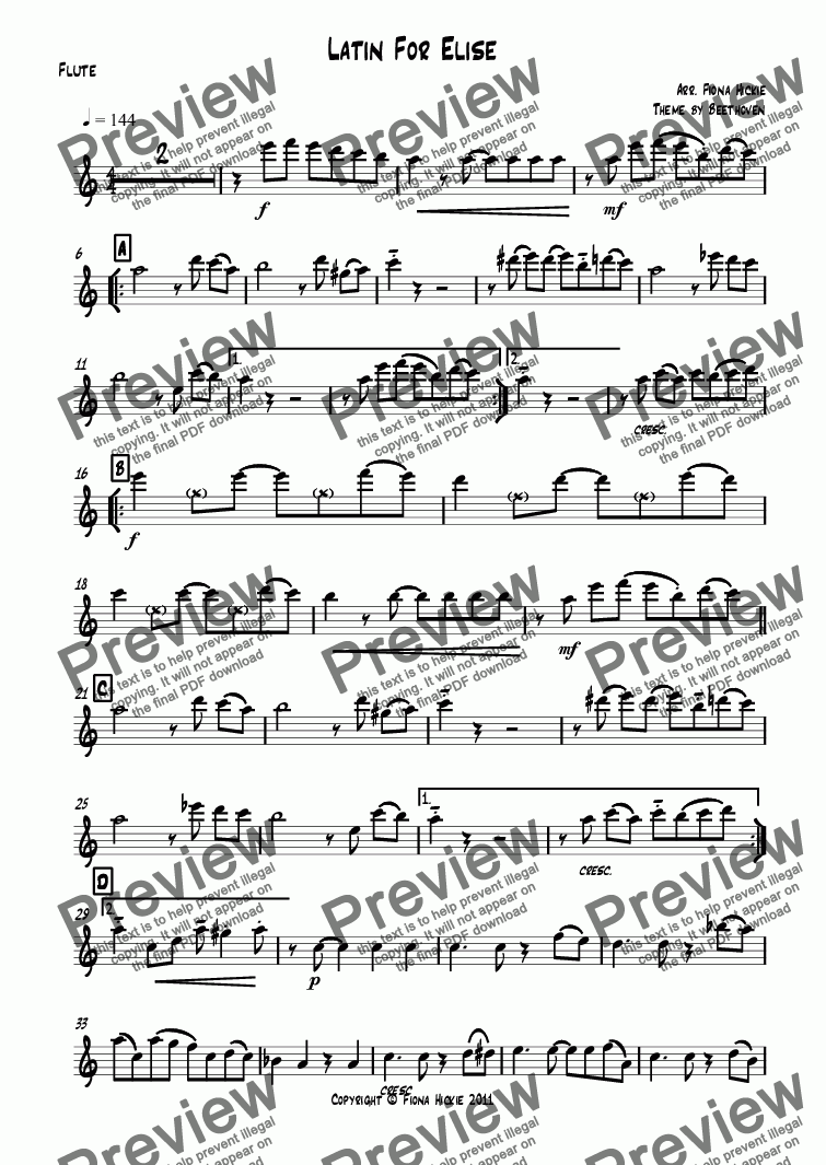 page one of the Flute part from Latin For Elise