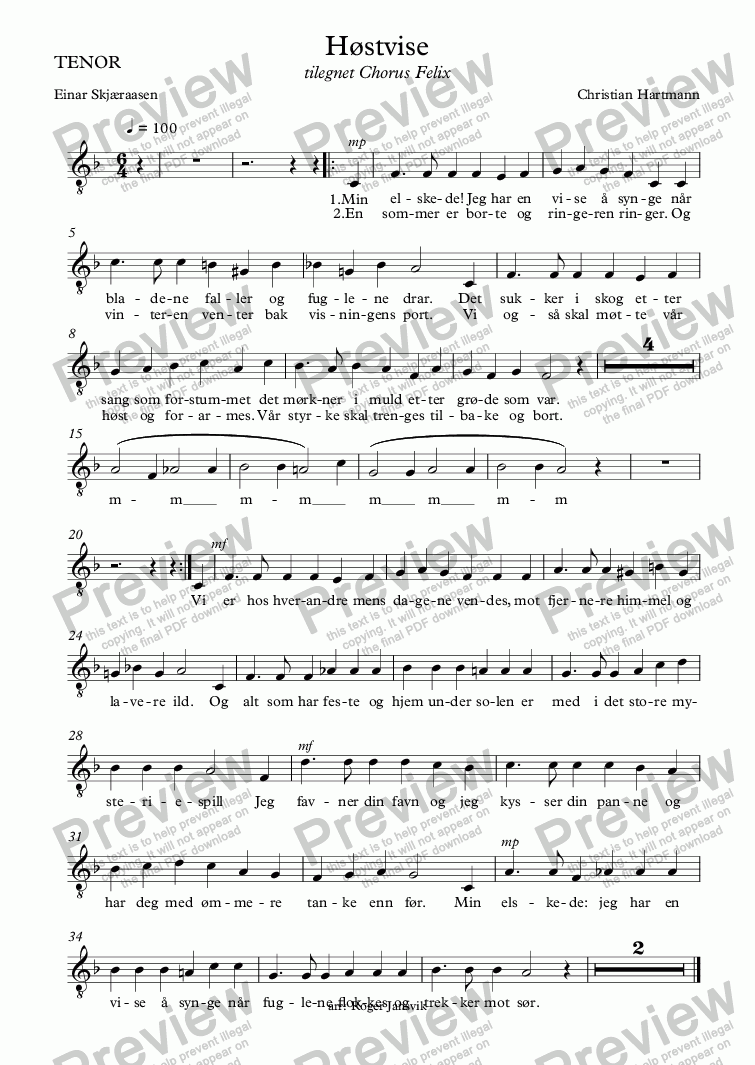 page one of the TENOR part from Høstvise