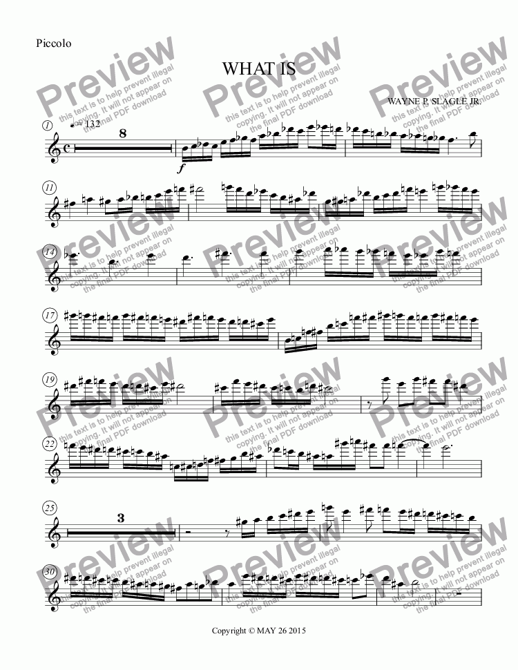 page one of the Piccolo part from WHAT IS