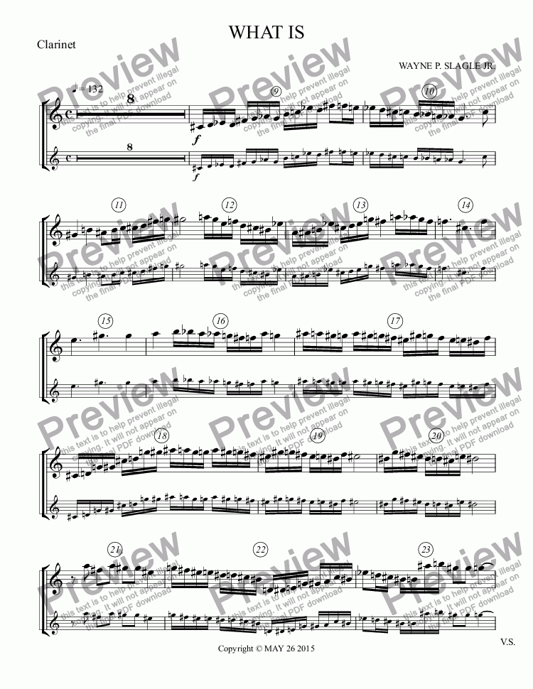 page one of the Clarinet part from WHAT IS