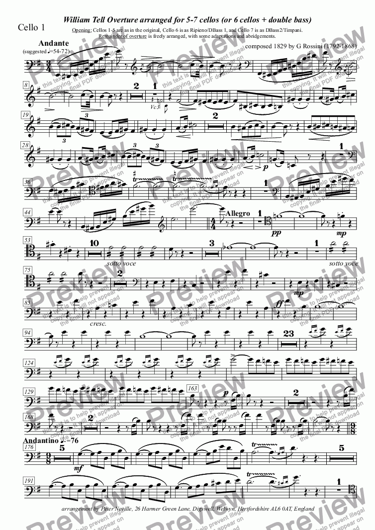 page one of the Cello 1 part from William Tell Overture (all four episodes) for 5 celli (abridged)