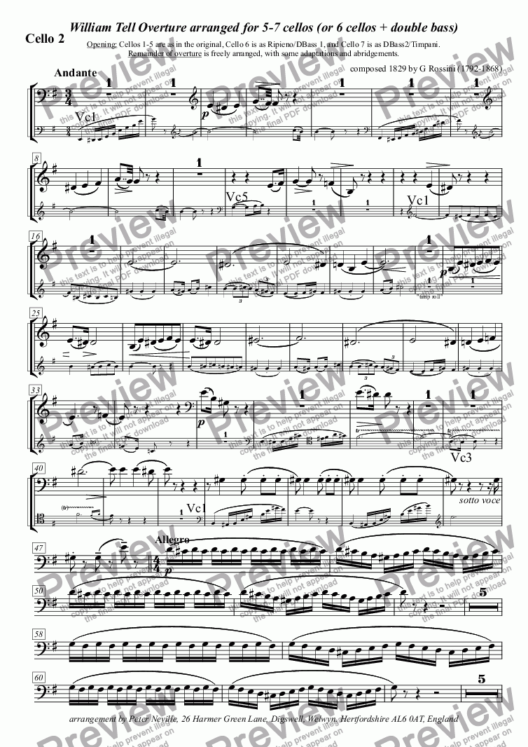 page one of the Cello 2 part from William Tell Overture (all four episodes) for 7celli, or for 6+DbleBass