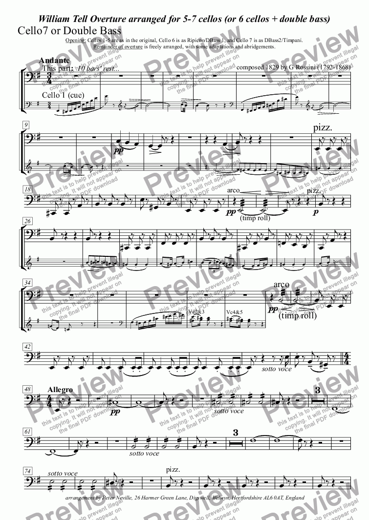 page one of the Cello7 if no DB part from William Tell Overture (all four episodes) for 7celli, or for 6+DbleBass