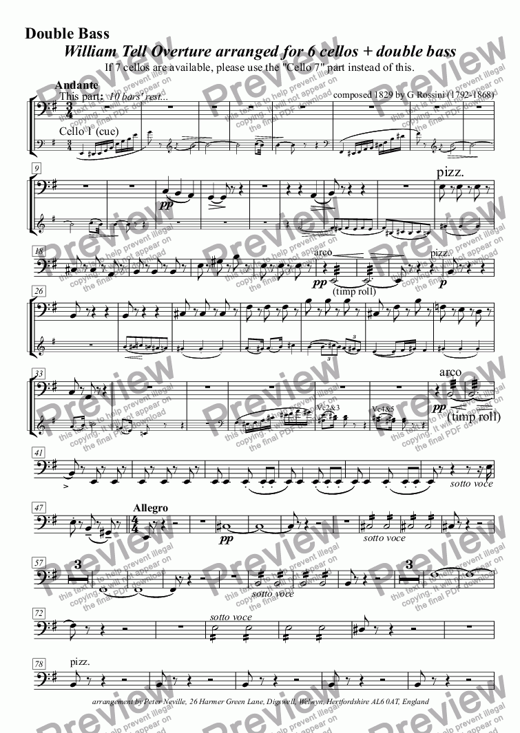 page one of the DB if no Cello7 part from William Tell Overture (all four episodes) for 7celli, or for 6+DbleBass