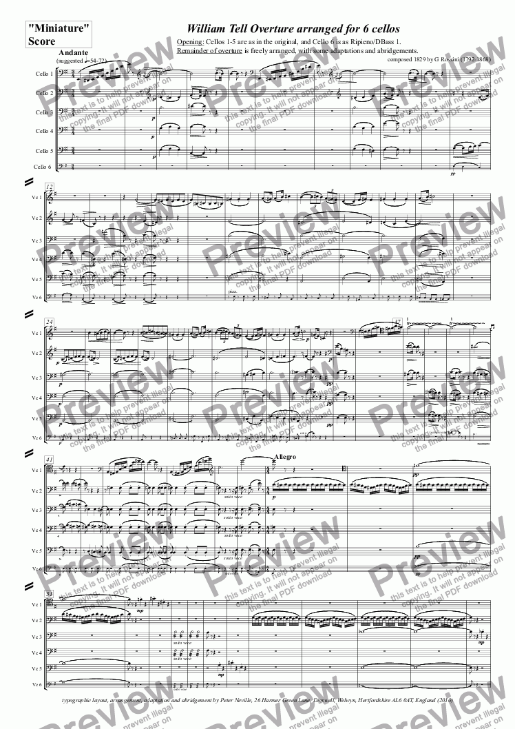 page one of the MiniatureScore(4pages) part from William Tell Overture (all four episodes) for 6 celli (abridged)