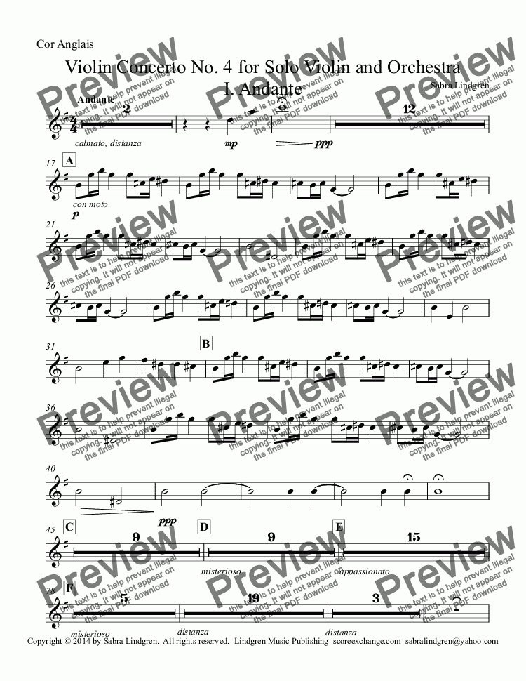 page one of the Cor Anglais part from Violin Concerto No. 4 for Solo Violin and Orchestra I. Andante