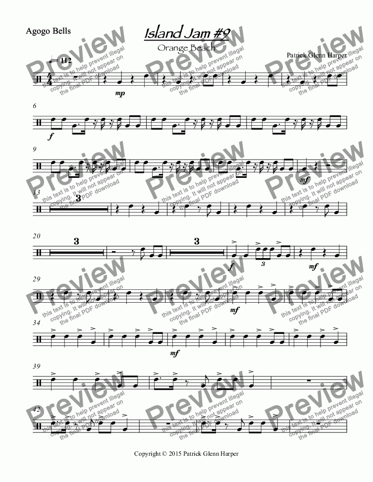 page one of the Agogo Bells part from Island Jam #9 - for Percussion Ensemble