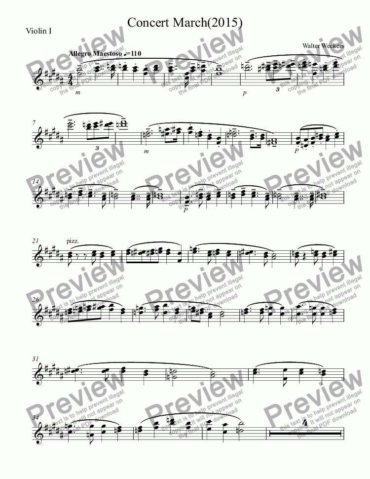 page one of the Violin I part from Concert March(2015)