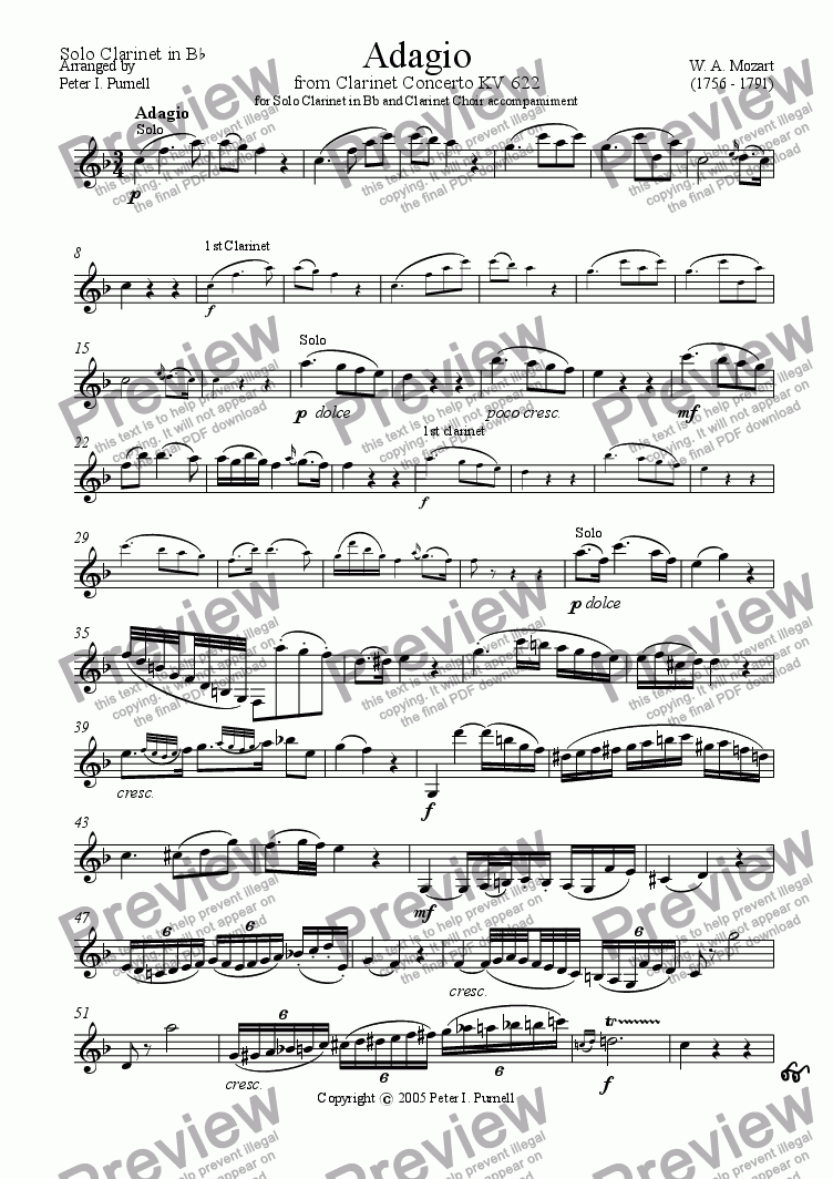 page one of the Solo Clarinet in Bb part from Adagio from Clarinet Concerto KV622 for Solo Clarinet in Bb