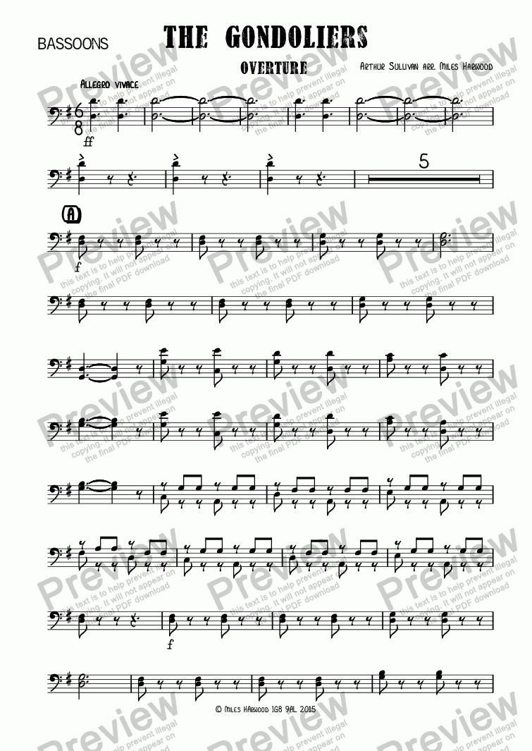 page one of the Bassoons part from Overture to 'The Gondoliers'